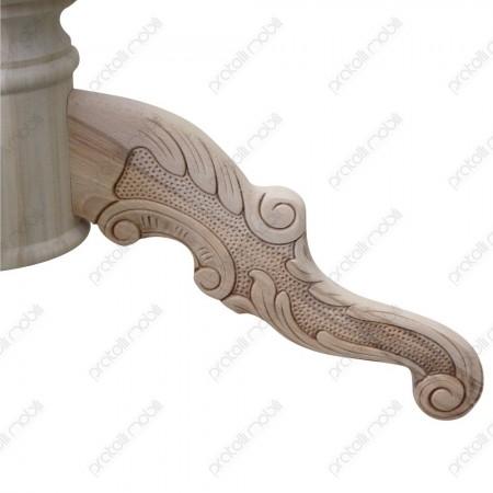 Basamento grezzo per tavolo intagliato con 4 gambette