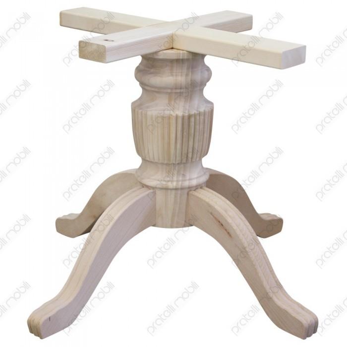Piede centrale grezzo per tavolo con colonna rigata